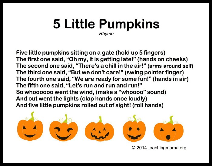 image regarding Five Little Pumpkins Poem Printable called pumpkin Non-indigenous Mommy
